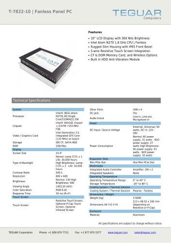 T-7822-10 | FANLESS PANEL PC