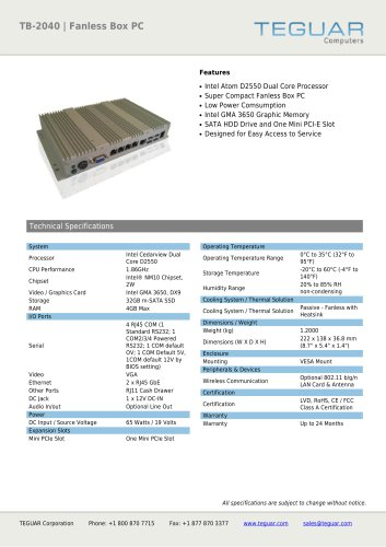 TB-2040 | FANLESS BOX PC