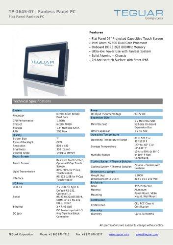 TP-1645-07 | FANLESS PANEL PC