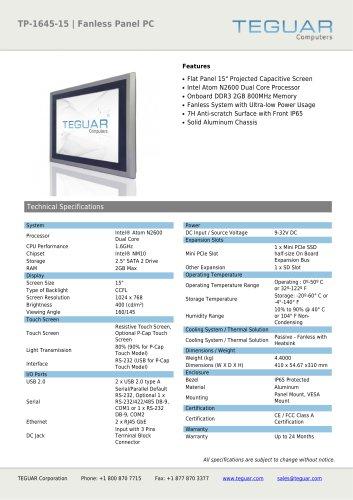 TP-1645-15 | FANLESS PANEL PC