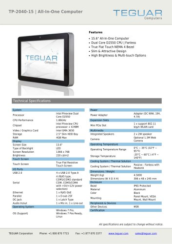 TP-2040-15 | ALL-IN-ONE COMPUTER