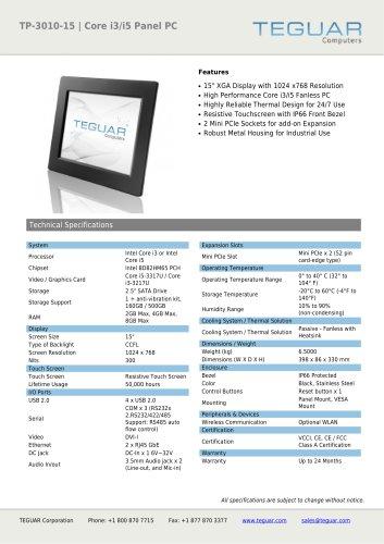 TP-3010-15 | CORE I3/I5 PANEL PC