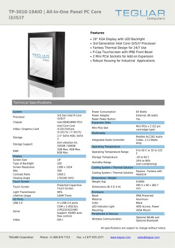 TP-3010-19AIO | ALL-IN-ONE PANEL PC CORE I3/I5/I7