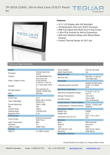 TP-3010-22AIO | ALL-IN-ONE CORE I3/I5/I7 PANEL PC