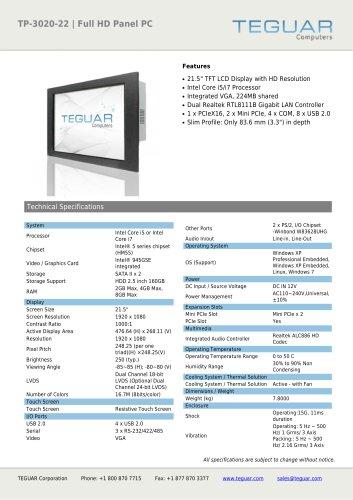 TP-3020-22 | FULL HD PANEL PC