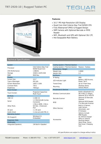 TRT-2920-10 | RUGGED TABLET PC