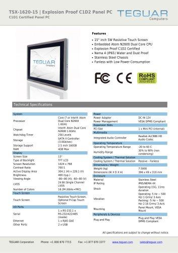 TSX-1620-15 | EXPLOSION PROOF C1D2 PANEL PC