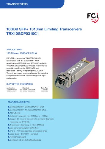 10GBd SFP+ 1310nm Limiting Transceivers datasheet
