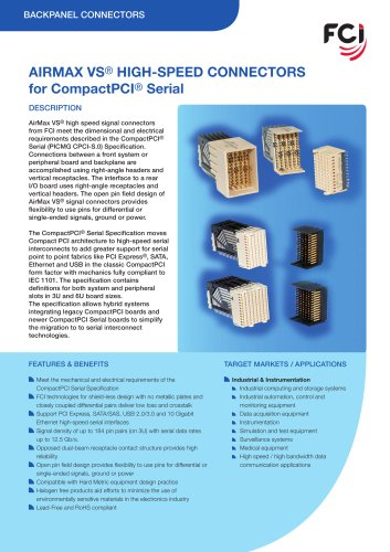Airmax VS® High-Speed connectors for CompactPCI® serial