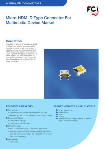 Micro-HDMI D Type Connector For Multimedia Device Market