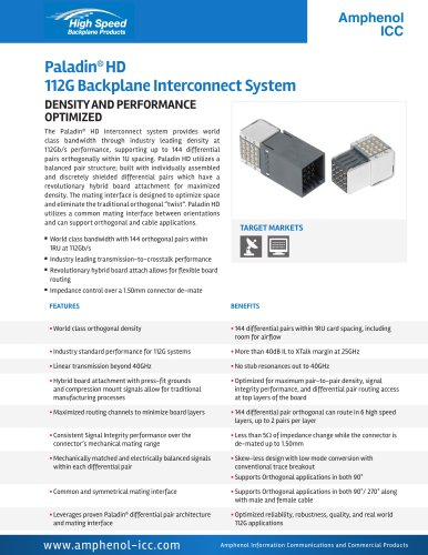 Paladin® HD 112G Backplane Interconnect System