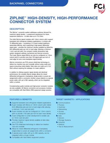 ZipLine® High-Density, High-Performance Connectors