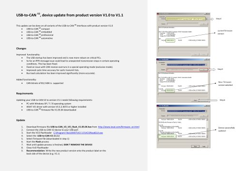 USB - to - CAN  V2 ,  device update from product version V1.0 to V1 .1