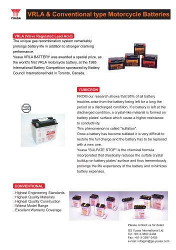 VRLA & Conventional type Motorcycle Batteries