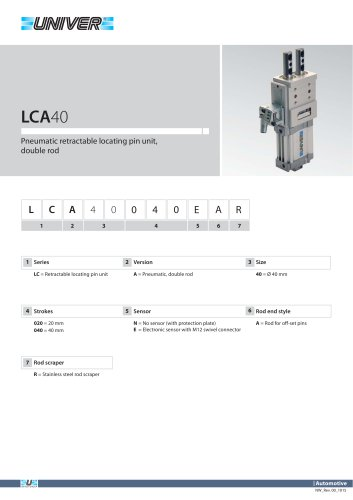 LCA40_Pneumatic retractable locating pin unit, double rod