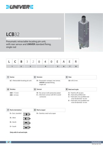 LCB32_Pneumatic retractable locating pin unit, with rear sensor and UNIVER standard fi xing, single rod