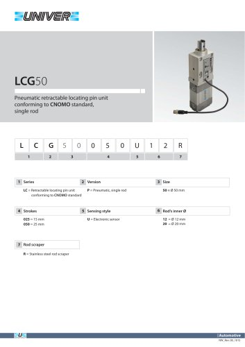 LCG50_Pneumatic retractable locating pin unit conforming to CNOMO standard, single rod