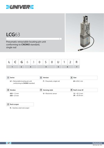 LCG63_Pneumatic retractable locating pin unit conforming to CNOMO standard, single rod