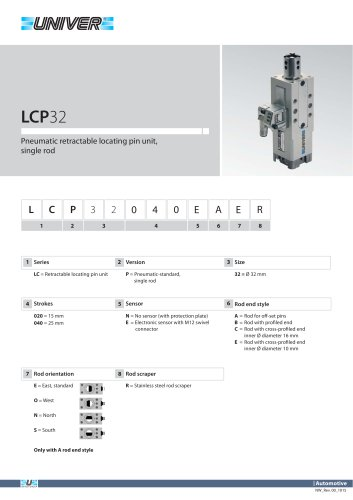 LCP32_Pneumatic retractable locating pin unit, single rod