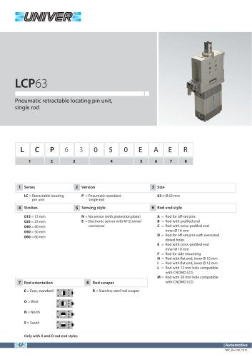 LCP63_Pneumatic retractable locating pin unit, single rod