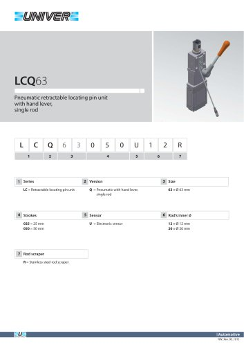 LCQ36_Pneumatic retractable locating pin unit with hand lever,  single rod