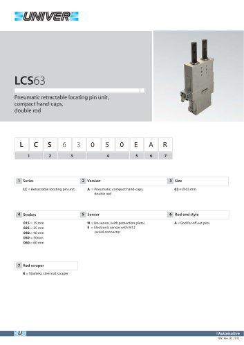 LCS63_Pneumatic retractable locating pin unit, compact hand-caps,  double rod