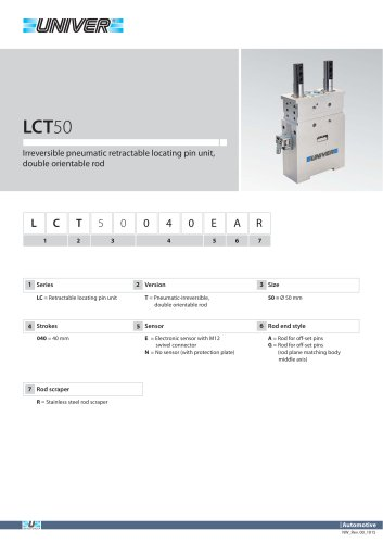 LCT50_Irreversible pneumatic retractable locating pin unit, double orientable rod