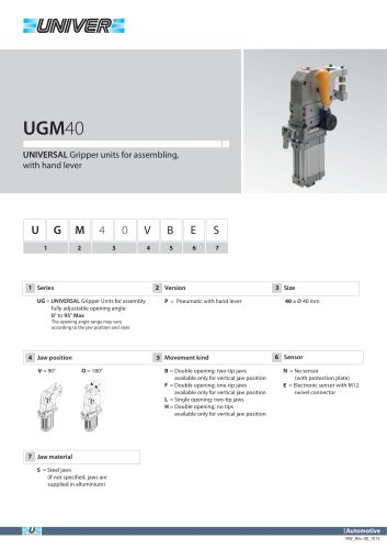 UGM40_UNIVERSAL Gripper units for assembling, with hand lever