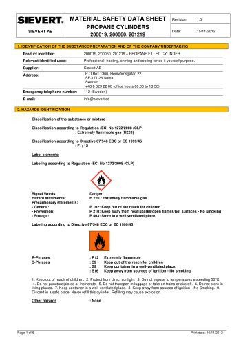 MATERIAL SAFETY DATA SHEET PROPANE CYLINDERS 200019, 200060, 20121 9