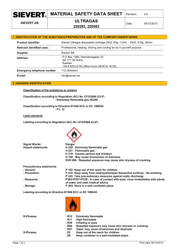 MATERIAL SAFETY DATA SHEET ULTRAGAS 220283, 220583