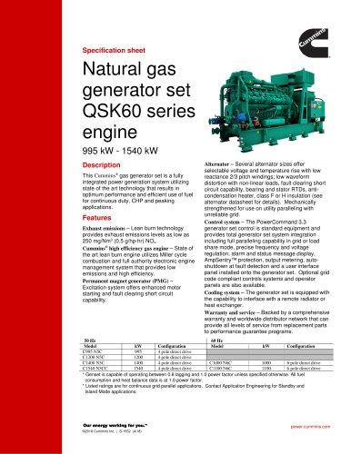 Natural gas generator set QSK60 series engine