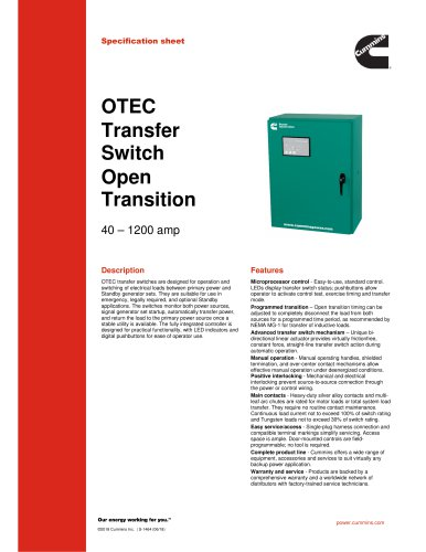 OTEC Transfer Switch Open Transition