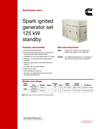 Spark ignited generator set 125 kW standby