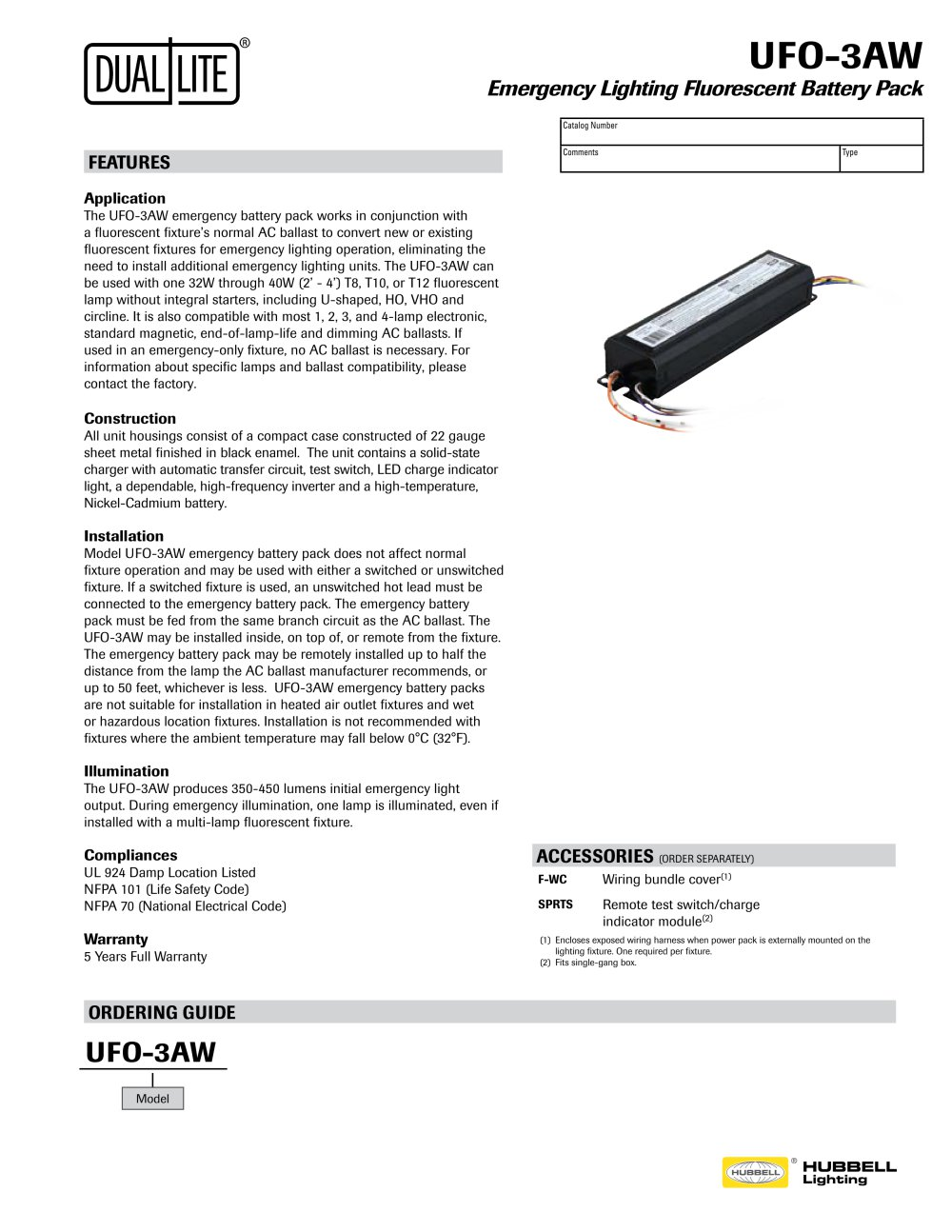Lampak Ufo 3aw Specification Sheet Hubbell Industrial Lighting 40w Fluorescent Lamp Inverter Diagram 1 2 Pages