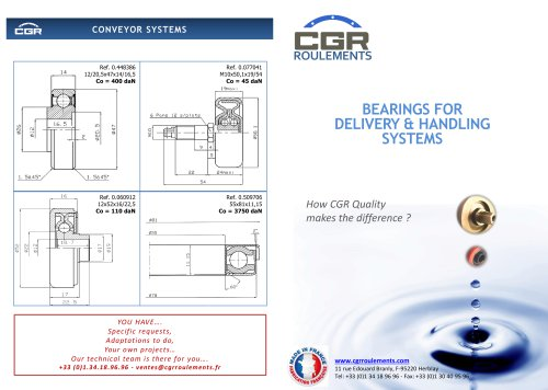 BEARINGS FOR DELIVERY & HANDLING SYSTEMS