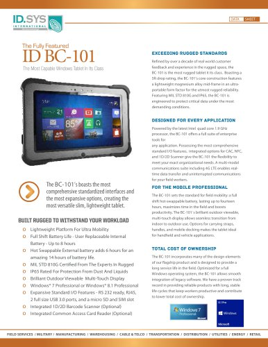 ID-101BC rugged Tablet IP65/MIL-810G Intel CPU 4 x 1,91 GHz