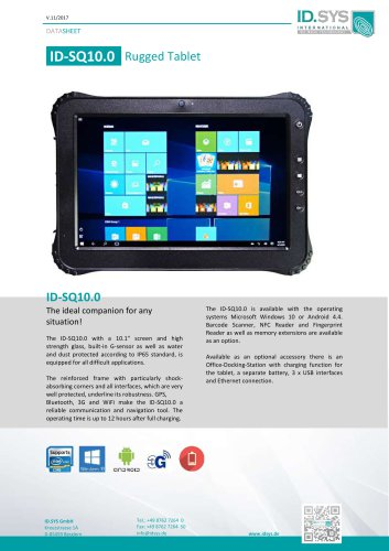 "ID SQ10 10,1"" rugged tablet pc IP65"