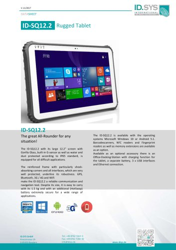 "ID SQ12 12,2"" rugged tablet pc IP65"