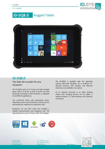 "ID SQ8 8,0"" rugged tablet IP65"