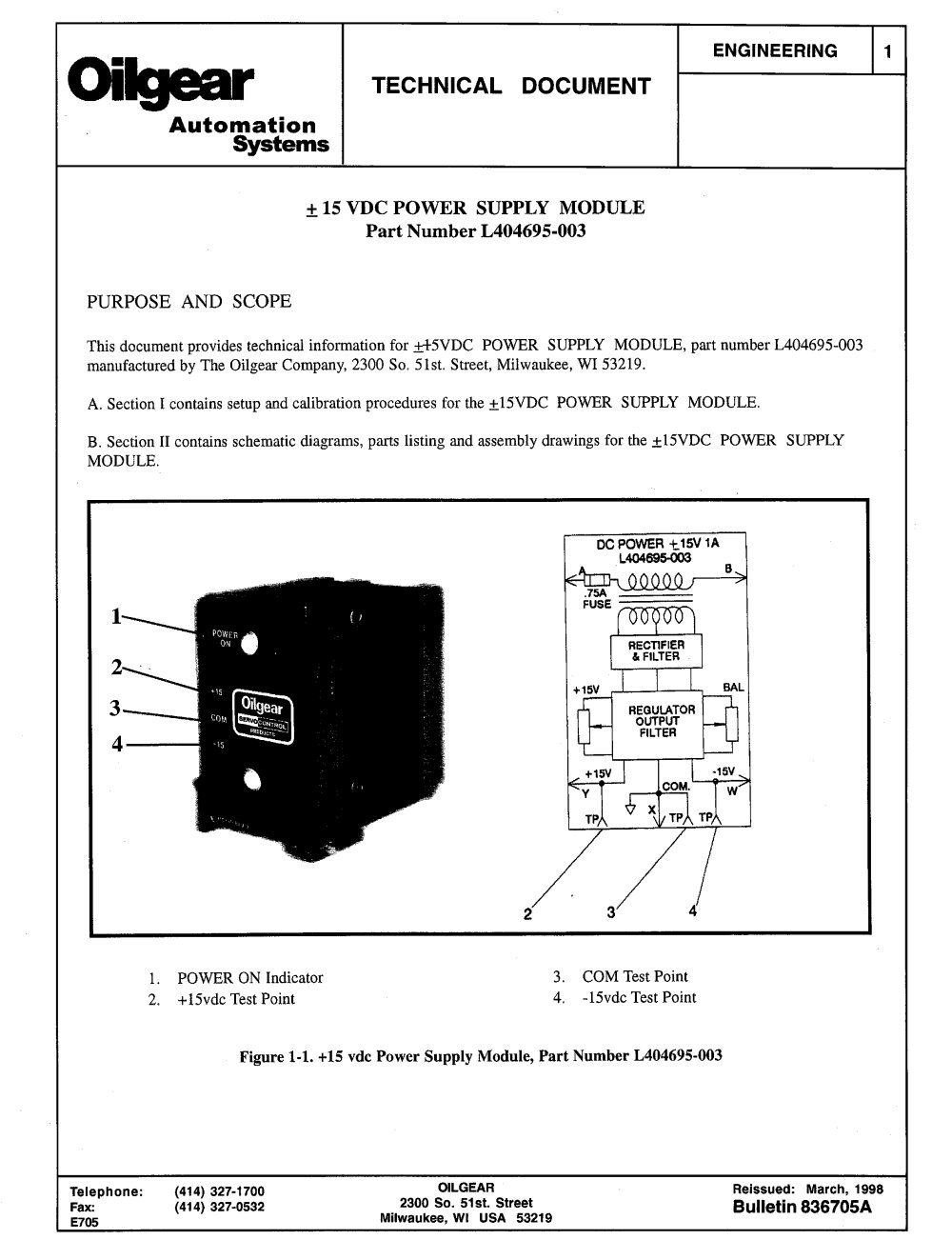 15 Vdc Power Supply Module L404695 003 Oilgear Pdf Catalogue For 2 A Circuit 1 4 Pages
