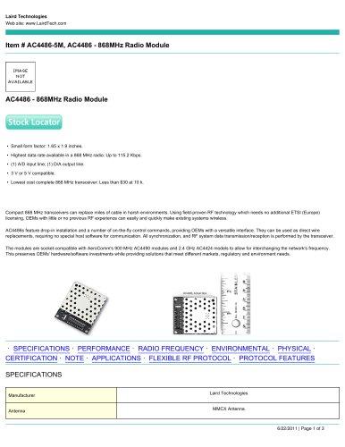 AC4486 - 868MHz Radio Module