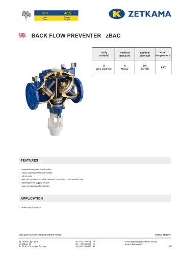 Backflow preventer zBAC Fig.405
