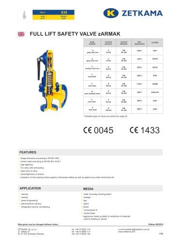 Safety valve zARMAK Fig.630