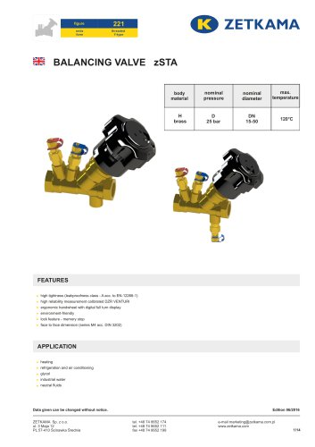 Static balancing valves zSTA Fig.221
