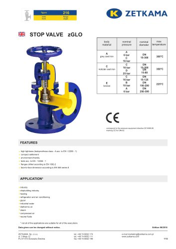 Stop valve zGLO Fig.216
