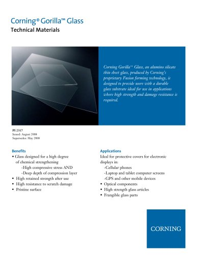 Gorilla Glass Product Information Sheet