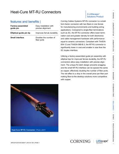 Heat-Cure MT-RJ Connectors