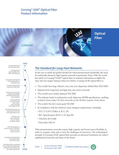 LEAF optical fiber product information sheet