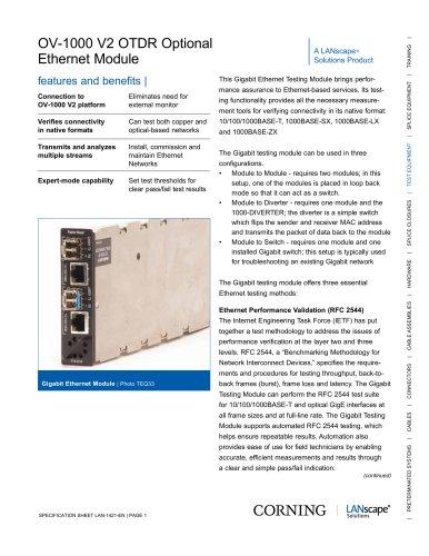 OV-1000 V2 OTDR Optional Ethernet Module