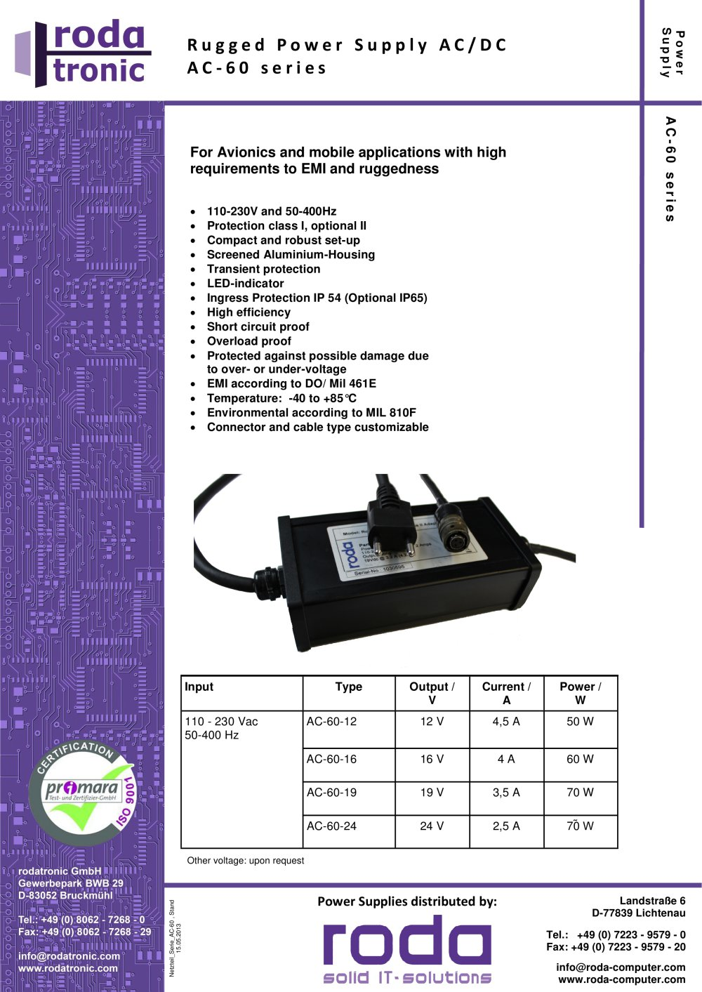 Power Supply Ac Dc 60 Series Roda Computer Gmbh Pdf Catalogs Or Voltage Indicator 1 2 Pages